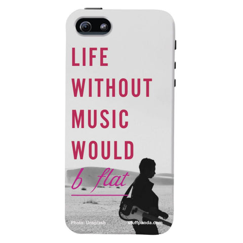Designer Cool funky Life Without Music hard back cover / case for Iphone 5 / 5s