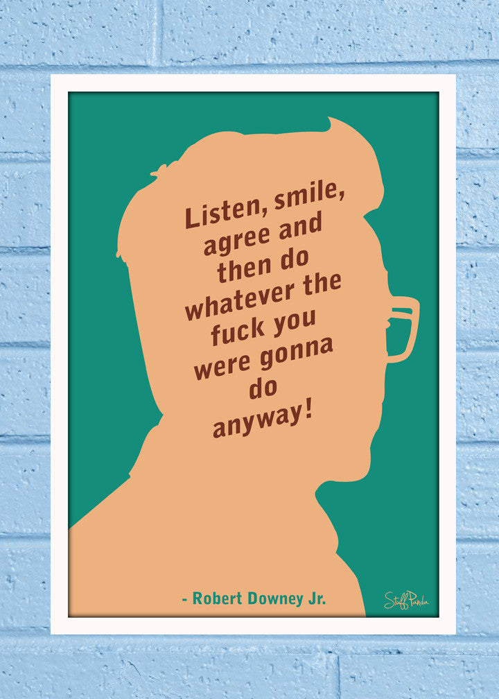 Cool Abstract Robert Downey Listen Smile Glass frame posters Wall art - stuffpanda - 1