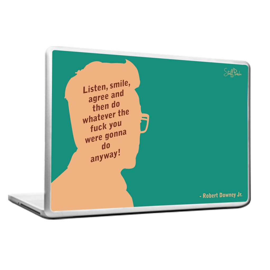 Cool Abstract Robert Downey Listen Smile Laptop cover skin vinyl decals - stuffpanda - 1