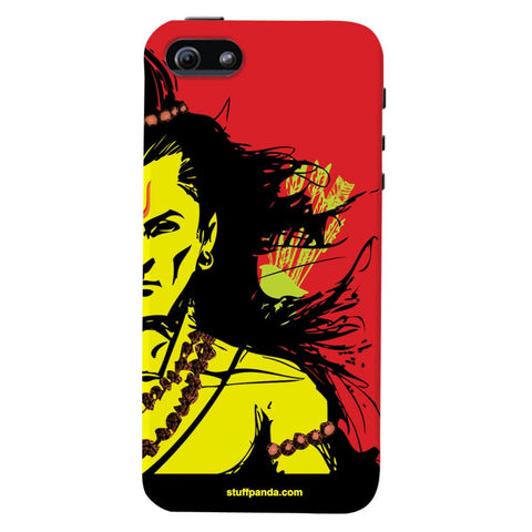 Designer Cool Ethnic Lord Rama hard back cover / case for Iphone 5 / 5s Red
