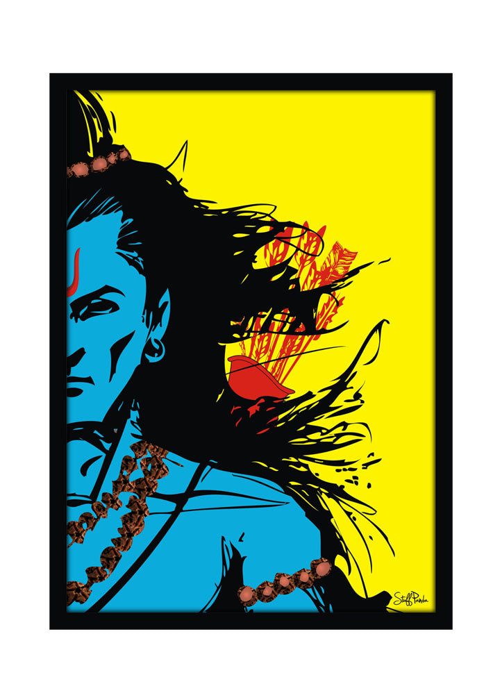Cool Funky Lord Rama Wall Glass Frame posters, Wall art Blue ...