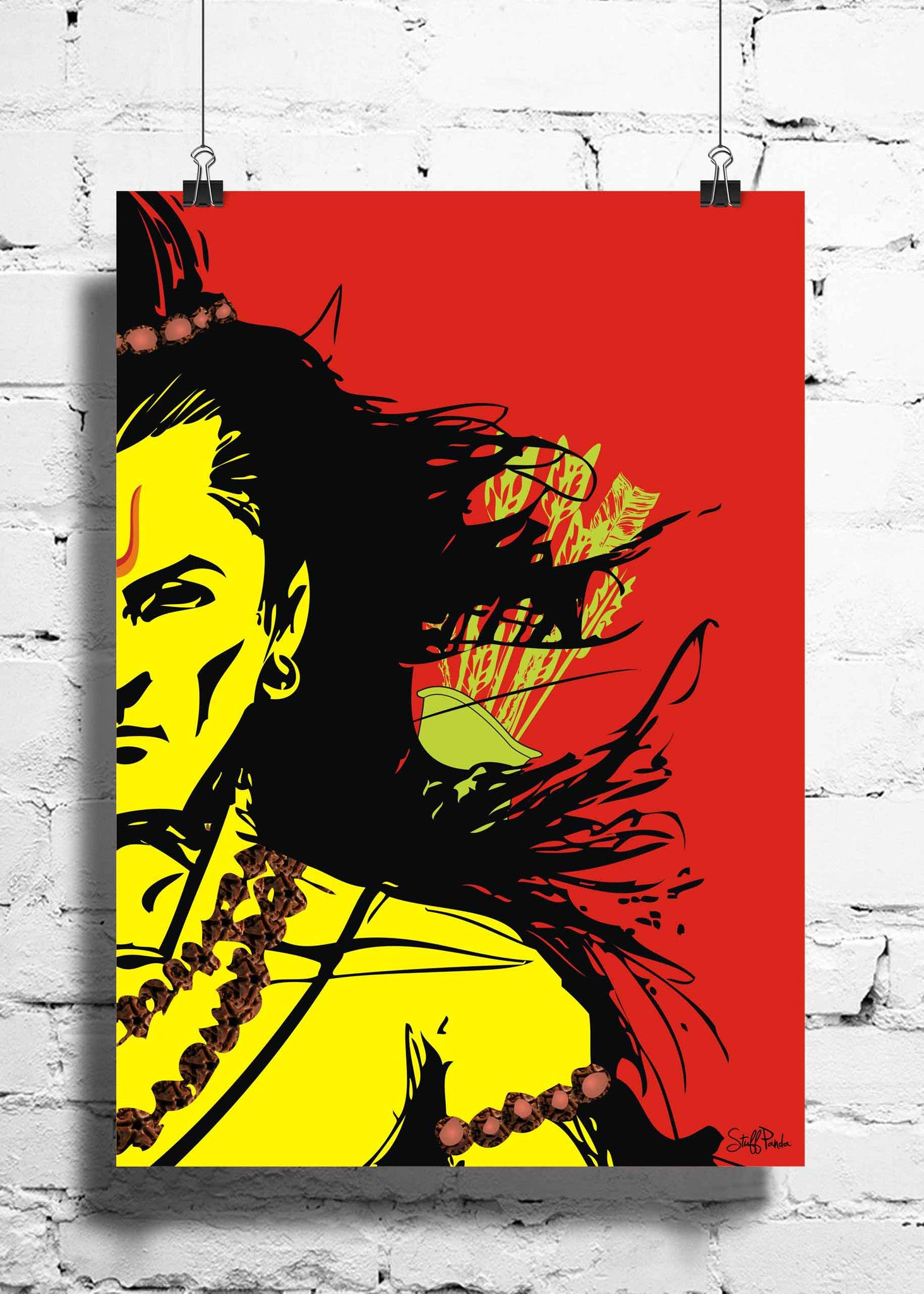 Cool Funky Mythology Lord Rama wall posters, art prints, stickers decals Red - stuffpanda - 1