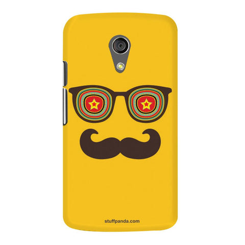 Designer Cool funky Moustache Face hard back cover / case for Moto G2