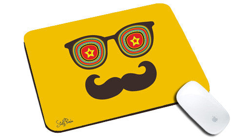 Cool design Abstract Mustache star natural rubber mouse pad