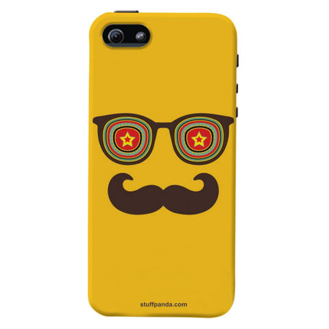 Designer Cool funky Moustache Face hard back cover / case for Iphone 5 / 5s