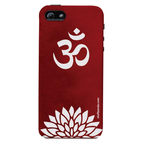Designer Cool funky Om With Flower hard back cover / case for Iphone 5 / 5s
