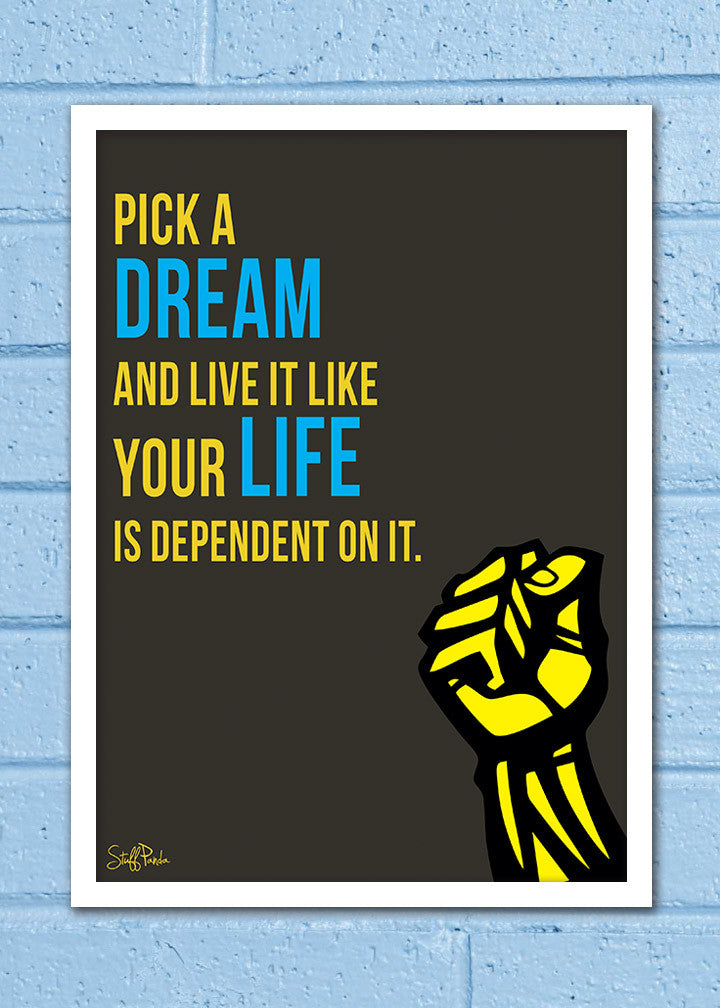 Cool Abstract Motivation Pick a dream Glass frame posters Wall art ...