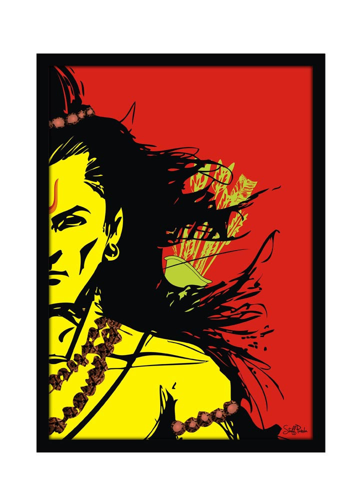 Cool Funky Lord Rama Wall Glass Frame posters, Wall art Red - stuffpanda - 1