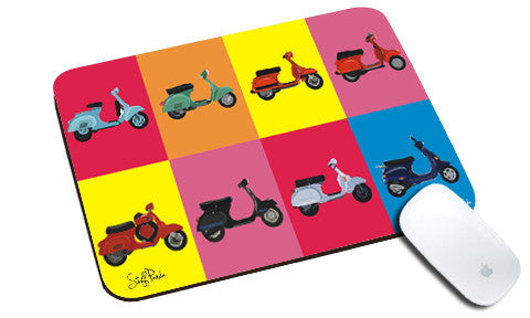 Cool design Retro vintage scooters natural rubber mouse pad - stuffpanda