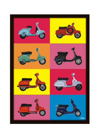Cool Funky abstract vintage scooters Wall Glass Frame posters, Wall art