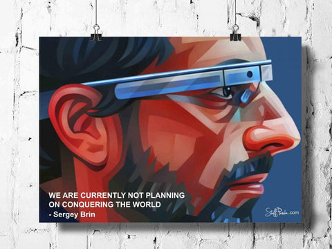 Cool Abstract Funky Sergey Brin wall posters, art prints, stickers decals