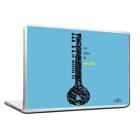 Cool Funky Music Sitar Blue Laptop skin vinyl decals