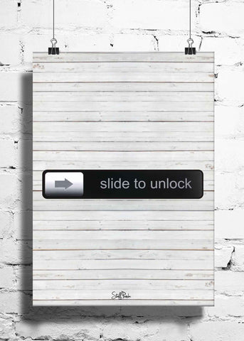 Cool Funky Apple Steve jobs Slide to Unlock wall posters, art prints, stickers decals