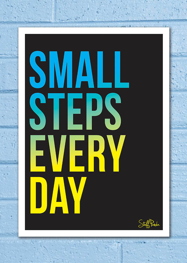 Cool Abstract Motivation Small Steps everyday Wall Glass Frame posters Wall art - stuffpanda - 1