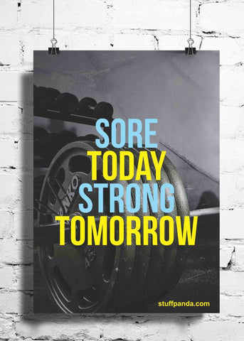 Cool Abstract Gym workout Motivation Sore Today wall posters, art prints, stickers decals