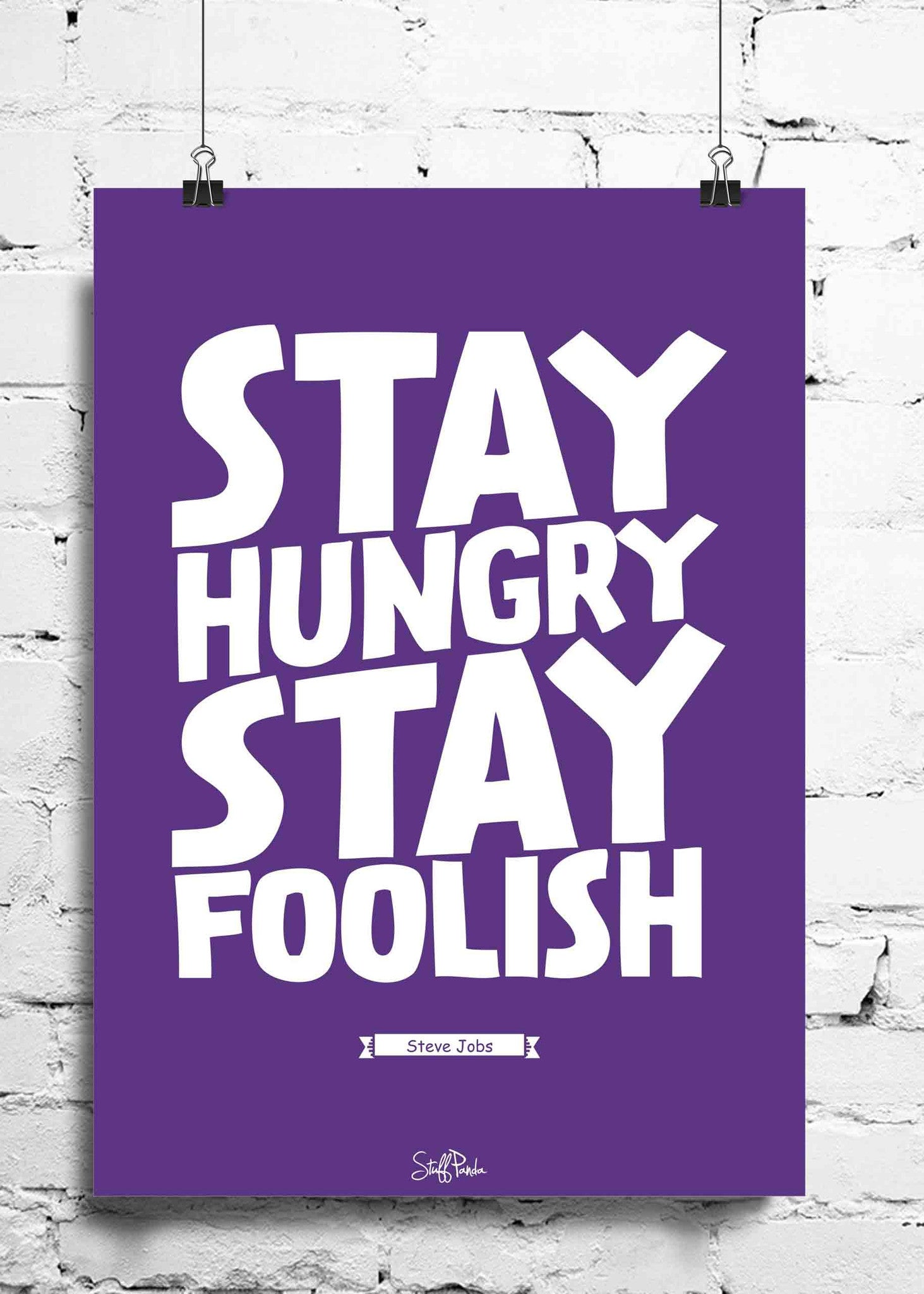 Cool Funky Steve jobs Quote Stay hungry wall posters, art prints, stickers decals - stuffpanda - 1