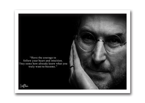 Cool Funky Apple Steve Jobs B n W Face Quote Glass frame posters Wall art