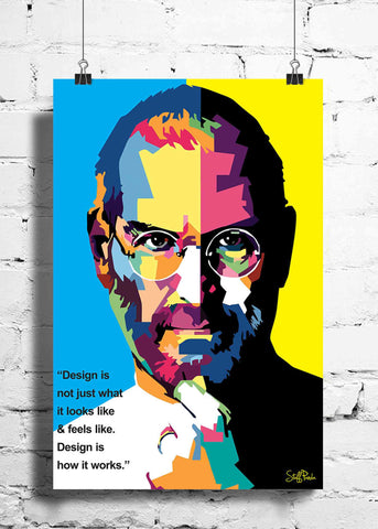 Cool Funky Apple Steve jobs Quote Pixels wall posters, art prints, stickers decals