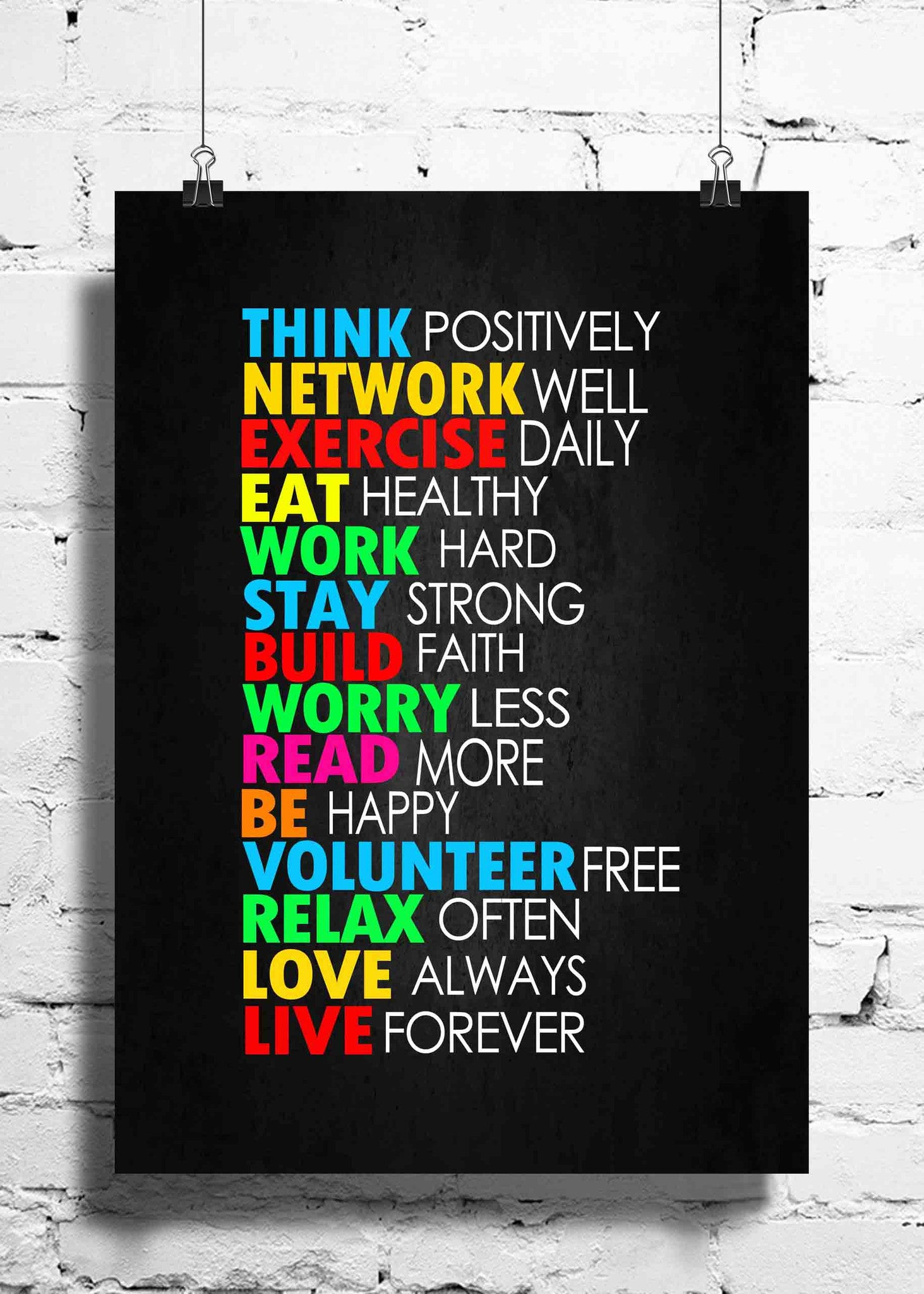 Cool Abstract Motivation Think positively wall posters, art prints, stickers decals - stuffpanda - 1