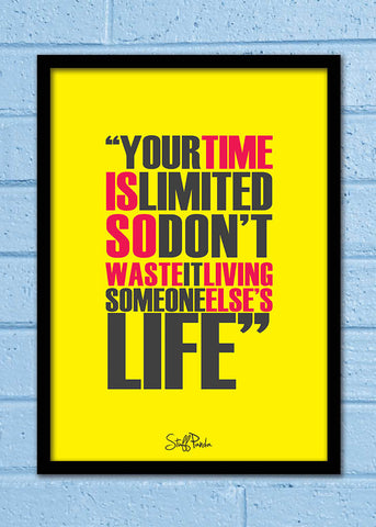 Cool Abstract Motivation Steve Apple Your time is Wall Glass Frame posters Wall art
