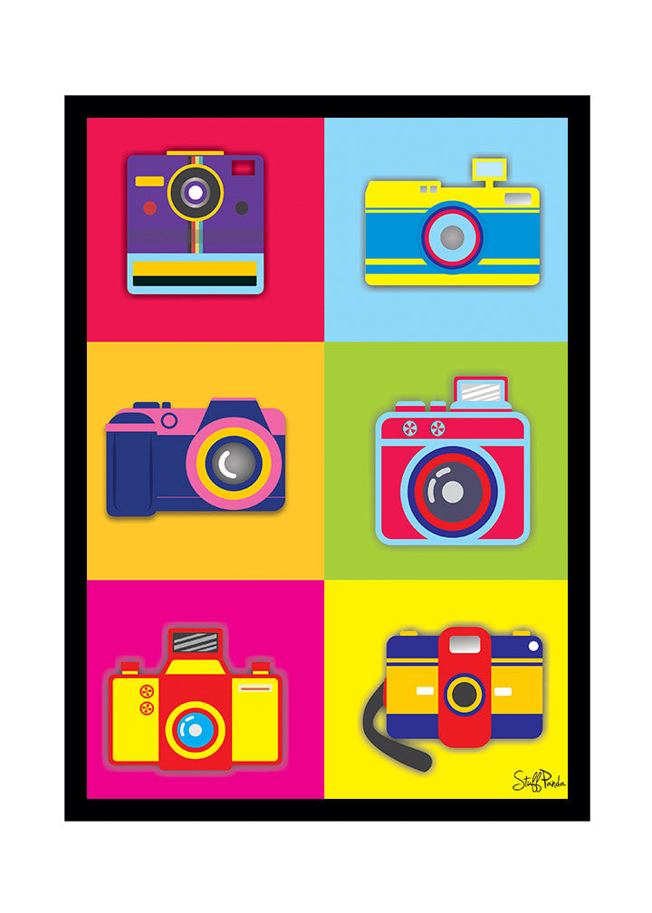 Cool Funky Abstract Retro Cameras Glass frame posters Wall art - stuffpanda - 1
