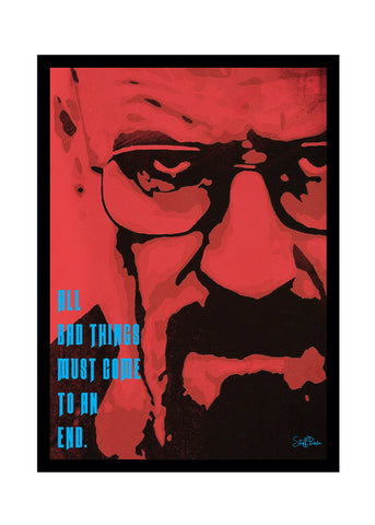 Cool Funky Breaking Bad Glass frame posters, Wall art Yellow and Red