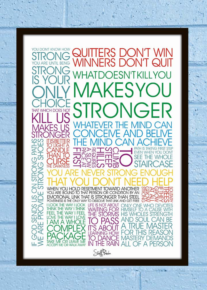Cool Abstract Motivvational what doesnt kill Wall Glass Frame posters Wall art - stuffpanda - 1