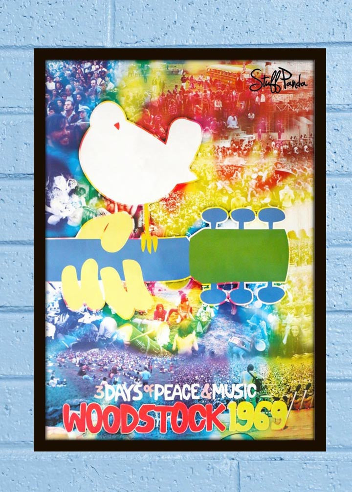 Cool Abstract Rock Music Woodstock Colorful Wall Glass Frame posters Wall art - stuffpanda - 1