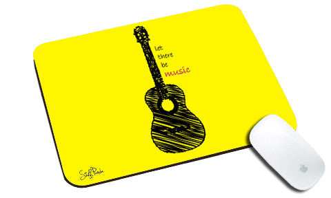 Cool design Music Yellow Guitar natural rubber mouse pad - stuffpanda
