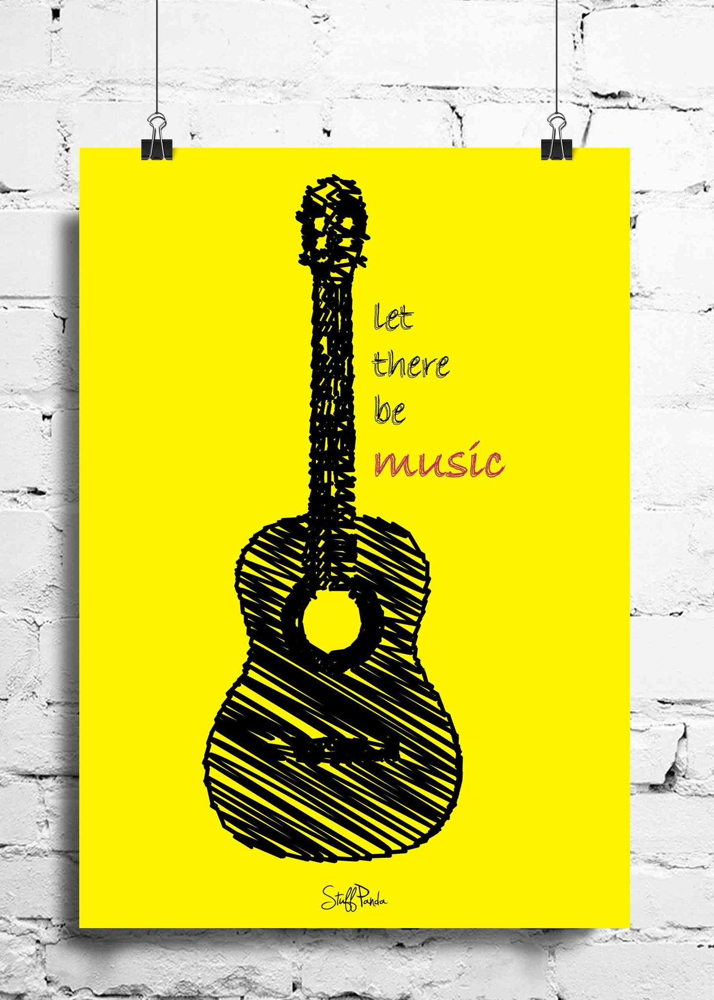Cool Funky Music Yellow Guitar wall posters, art prints, stickers ...