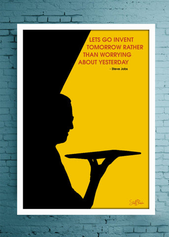 Cool Motivation Apple Steve Lets go invent Glass frame posters Wall art