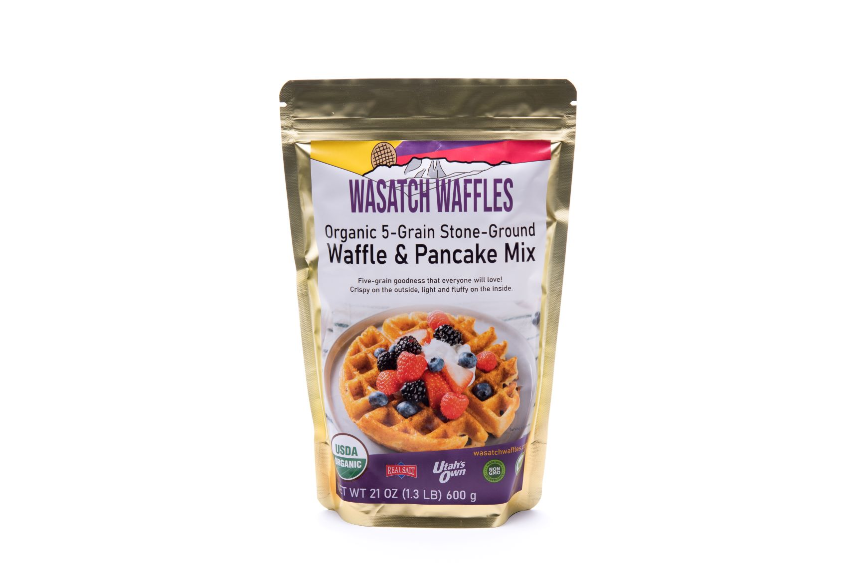 Organic Five-Grain Stone-Ground Waffle & Pancake Mix, 1 pouch