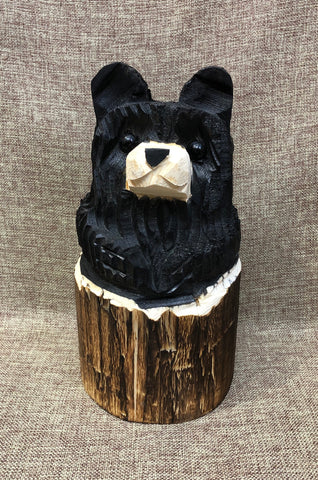 "9"" Black Stump Bear with Arms"