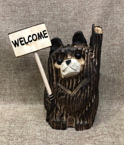 "9"" Brown Waving Bear With Sign"