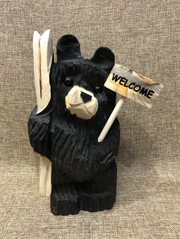 "9"" Black Ski Bear With Sign"