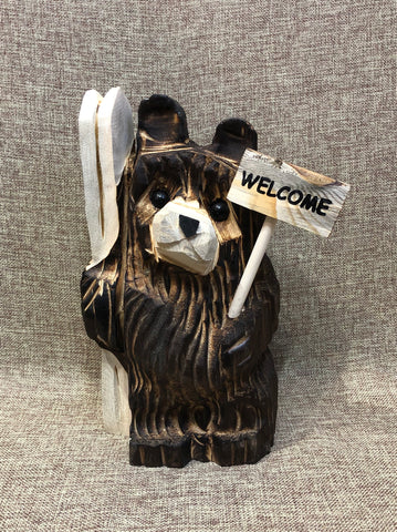 "9"" Brown Ski Bear With Sign"
