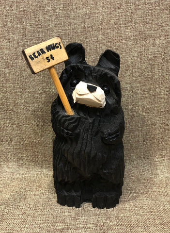 "9"" Black Tilt Bear With Sign"