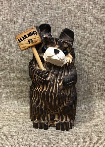 "9"" Brown Tilt Bear With Sign"
