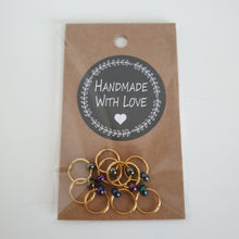 Load image into Gallery viewer, GOLDEN RINGS WITH METALIC BEADS - Stitch Markers