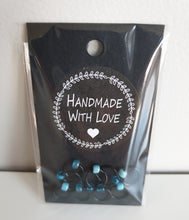 Load image into Gallery viewer, BLACK RINGS WITH TURQUOISE BEADS - Stitch Markers