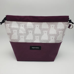 PLUM POLAR BEARS - LARGE Project Bag