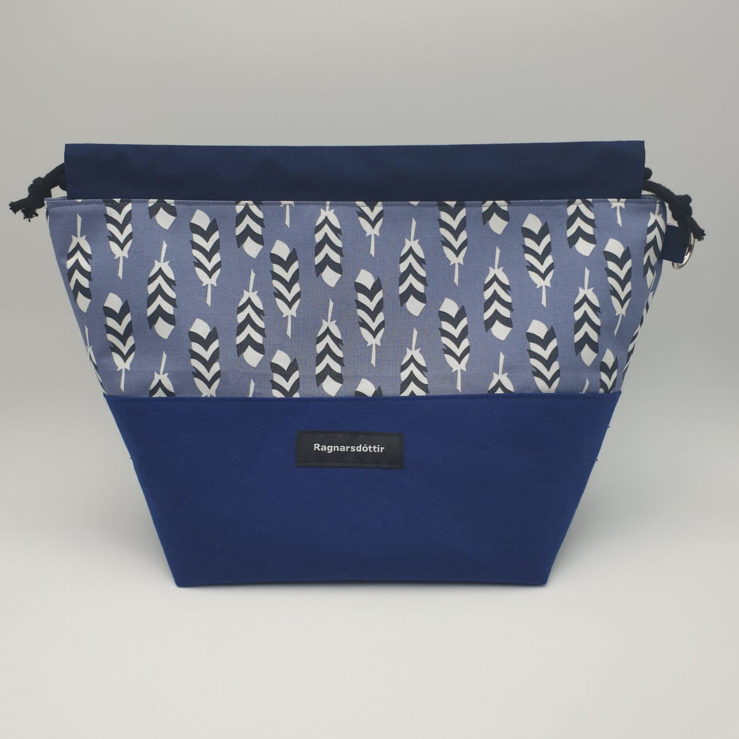 BLUE FEATHERS - LARGE Project Bag