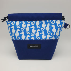 BLUE SEAHORSES - SMALL Project Bag