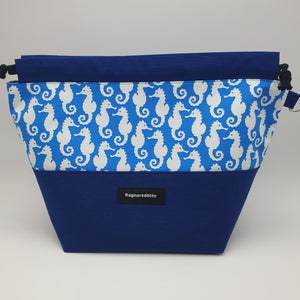 BLUE SEAHORSES - LARGE Project Bag