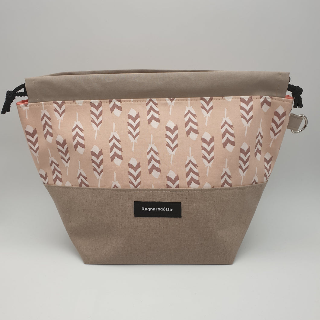 BROWN-GREY FEATHERS - LARGE Project Bag