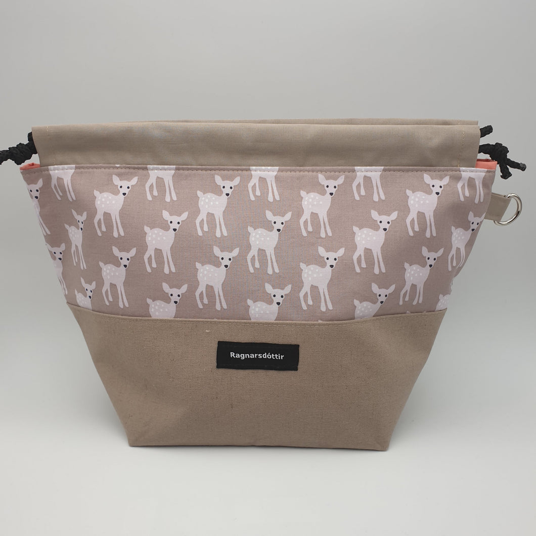 BROWN-GREY BAMBI - LARGE Project Bag