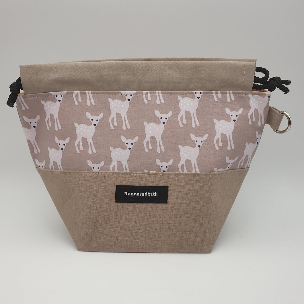 BROWN-GREY BAMBI - SMALL Project Bag