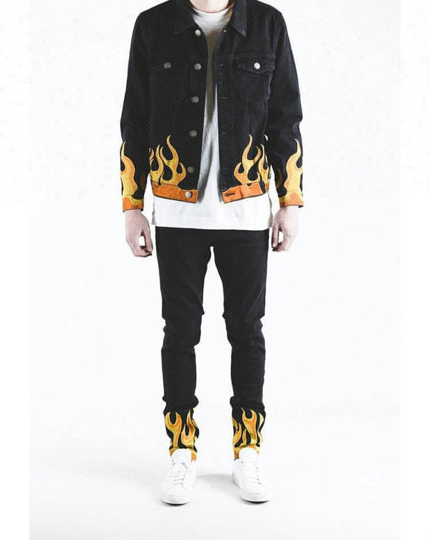 Royal wolf denim garment factory jet black embroidered flames pattern jackets and jeans men denim set jeans set
