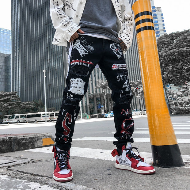 High Street Hole Retro Graffiti Black Skull Jeans Men's Original Straight Slim Punk Pants Calca Masculina Denim Trousers