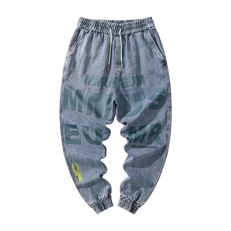 Loose Baggy Jeans Men Japanese Harajuku Letters Printed Graffiti Drawsting Denim Hip Hop Casual Streetwear Harem Pants Trousers